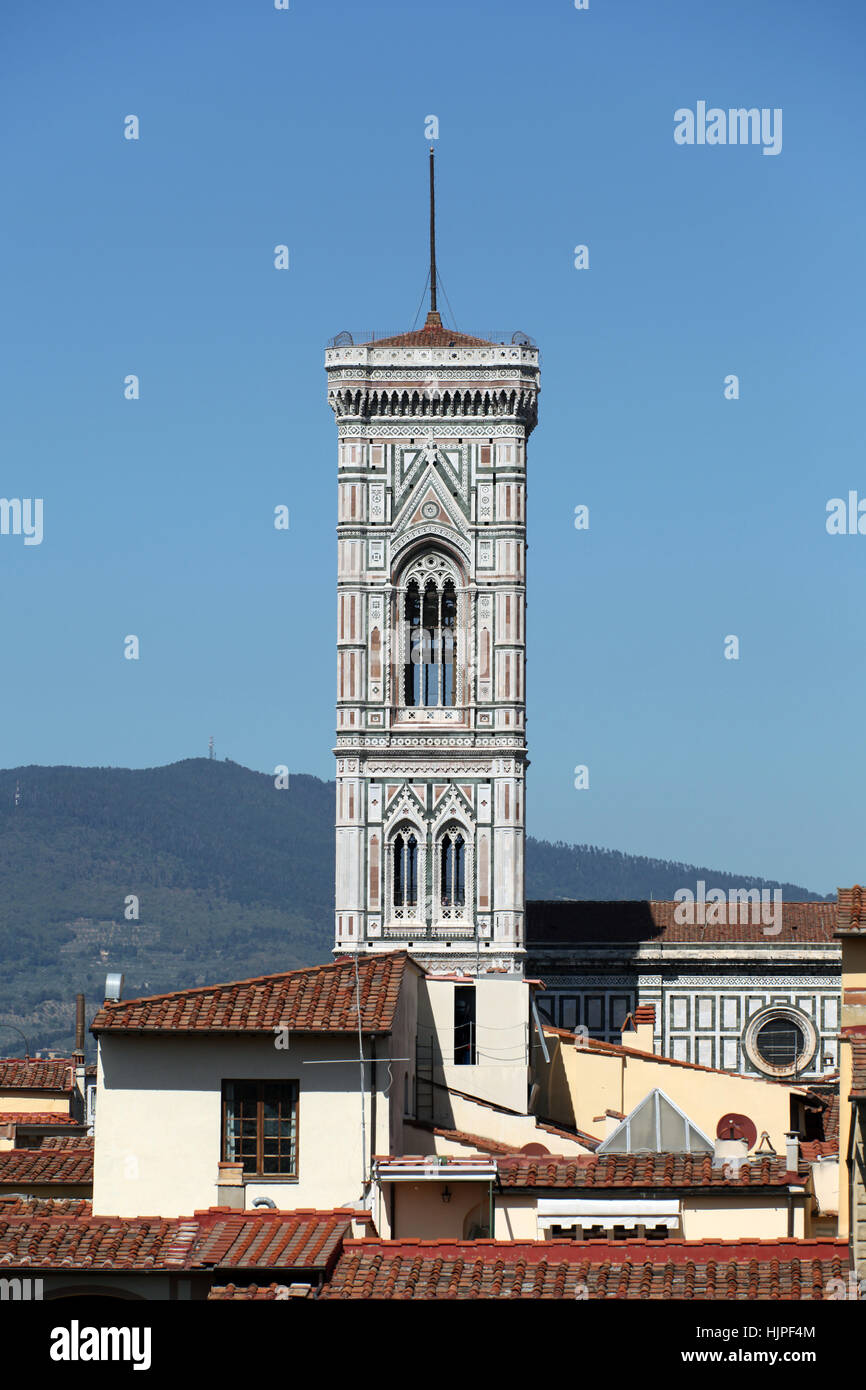 tower, bell, florence, tower, detail, religion, church, monument, art, statue, Stock Photo