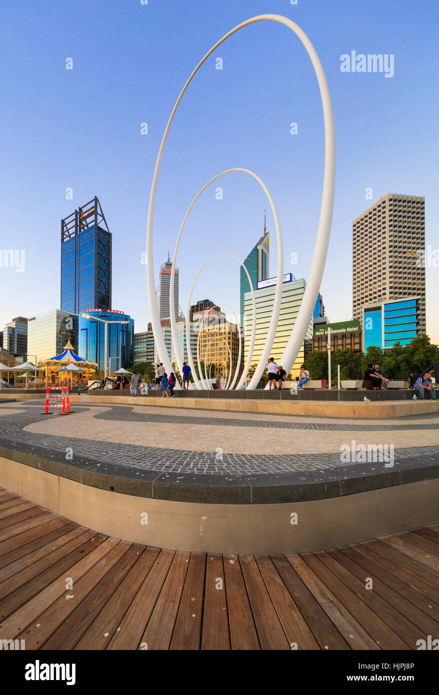 The carbon fiber Spanda sculpture by Christian de Vietri at Elizabeth Quay in Perth, Western Australia - Stock Image