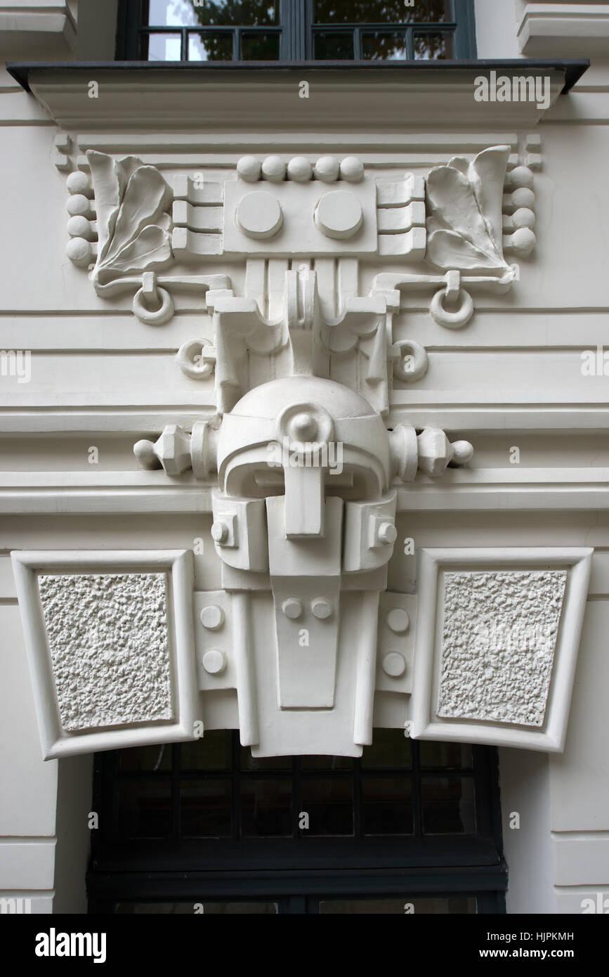 Art Nouveau bas-relief decor on the facade of a house, Riga, Latvia ...