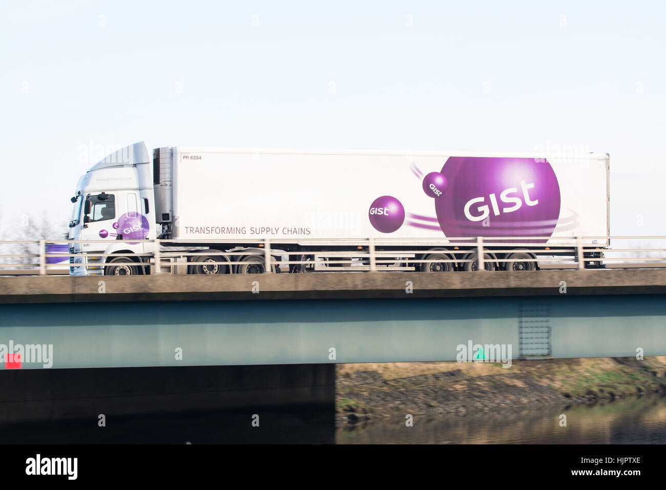 Gist logistics lorry on the motorway - Scotland, UK - Stock Image