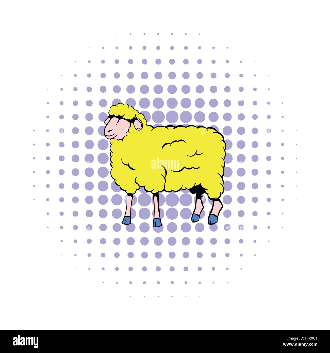 Sheep icon in comics style on a white background Stock Vector