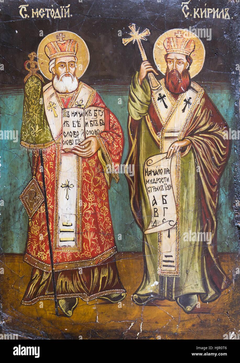 Bratislava, Slovakia, 2017/01/23. Byzantine icon of Saints Cyril and Methodius, the two brothers who were Byzantine - Stock Image