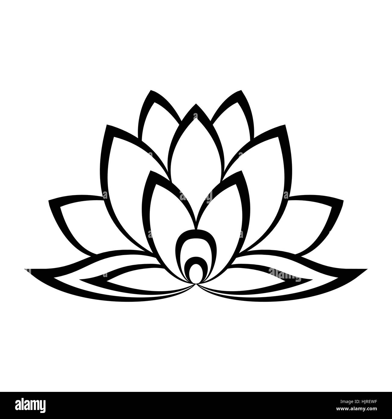 Lotus Flower Icon Simple Style Black And White Stock Photos Images
