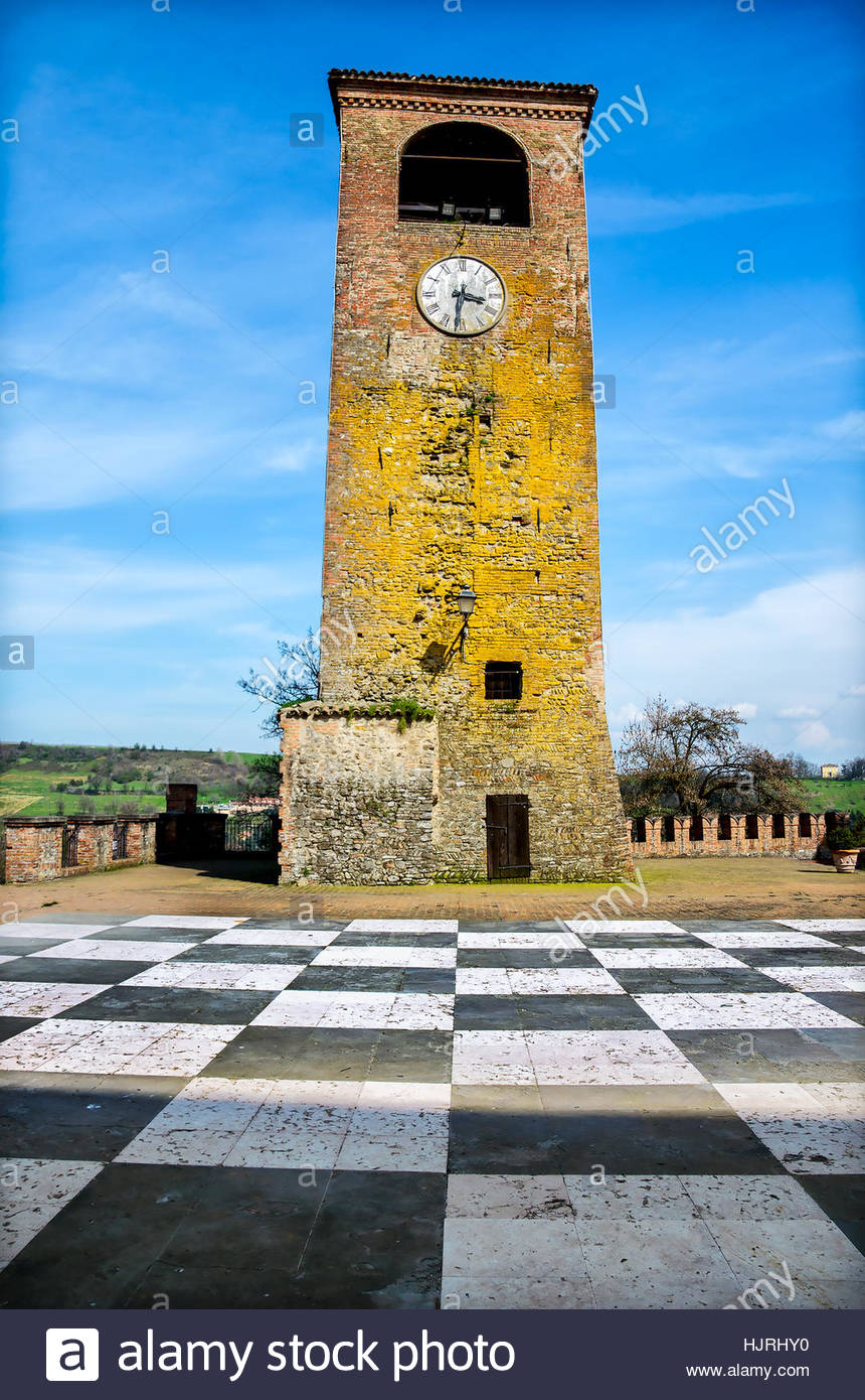 Castelvetro Modena clock tower checkerboard floor - Stock Image