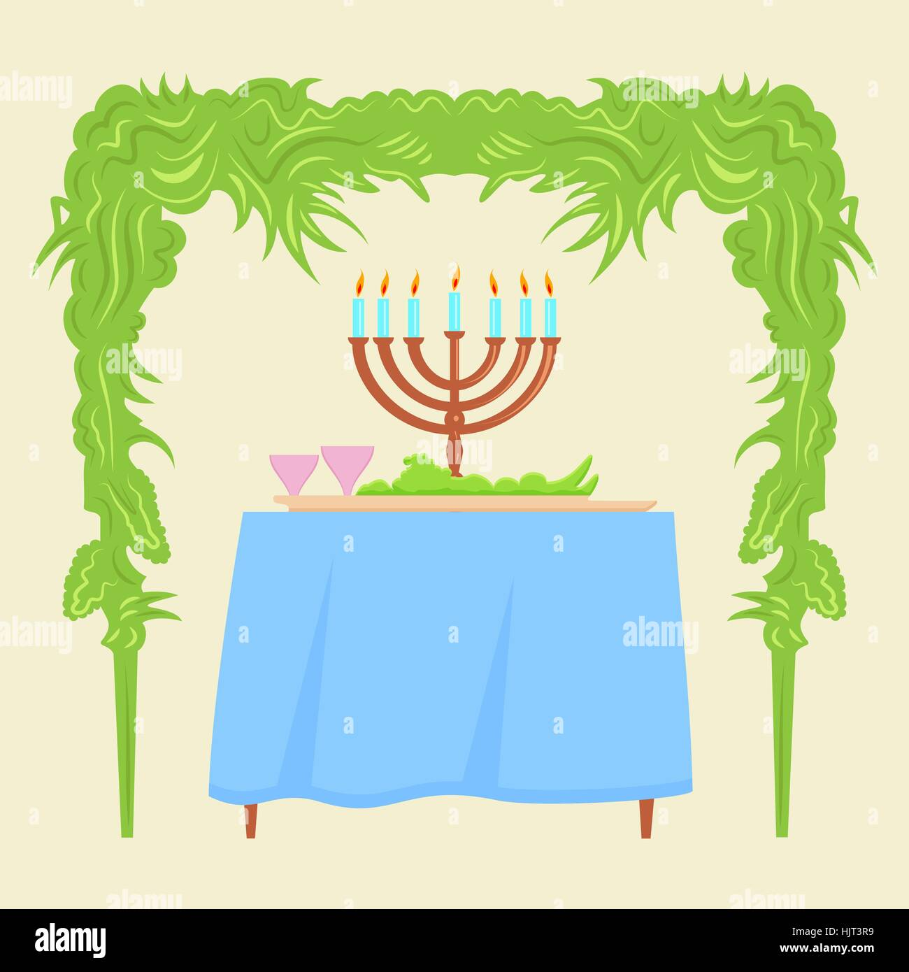 Sukkot Festival Greeting Card Design Vector Template Traditional