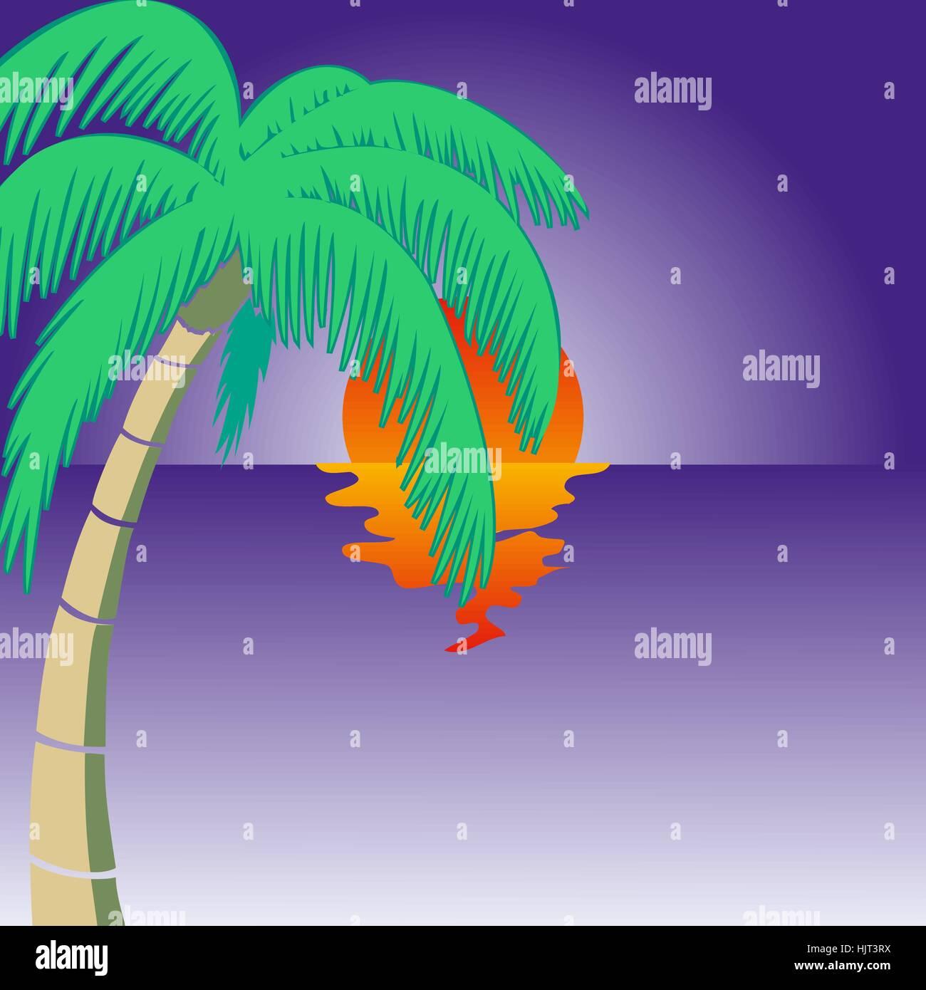 Summer holidays background. Seaside View Poster. Vector beach resort wallpaper - Stock Vector
