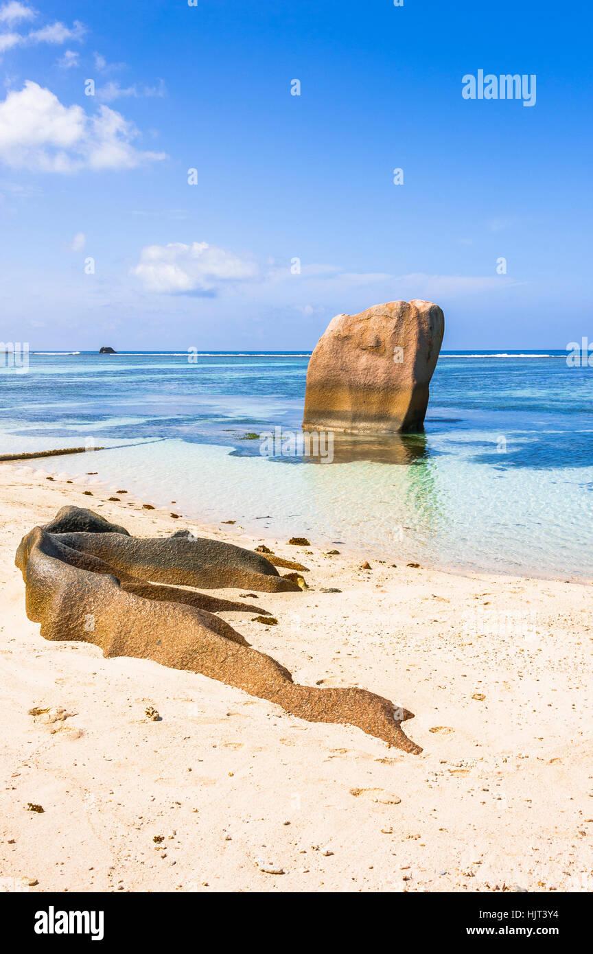 Beach of the Seychelles, Island La Digue, Beach Source d'Argent - Stock Image