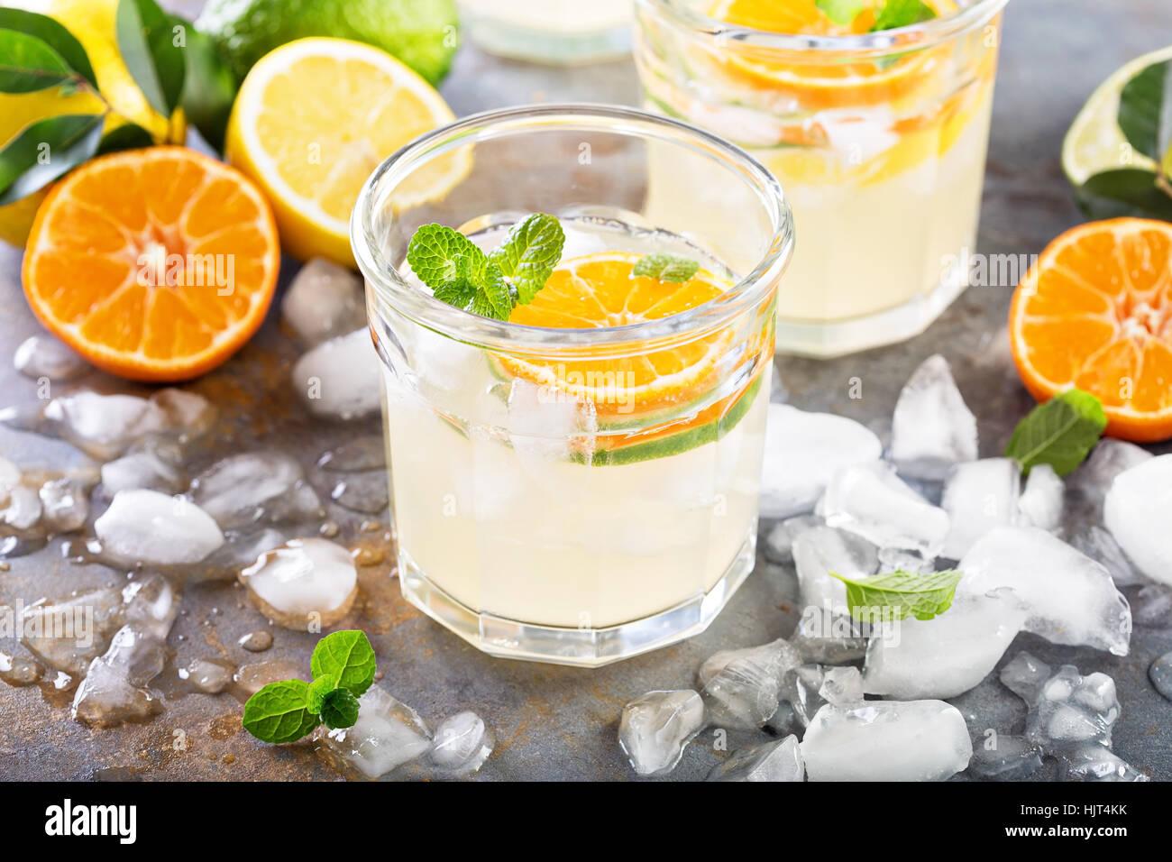 Citrus fruit lemonade in glasses - Stock Image