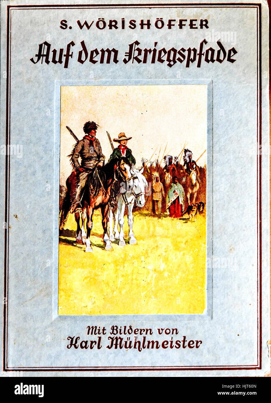 cover of adventure book (german edition), cover von Abenteuerbuch (deutsch) - Stock Image