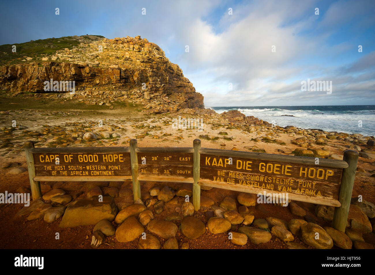 Cape of Good Hope, rocky promontory at the southern end of Cape Peninsula, South Africa. It was first sighted by - Stock Image