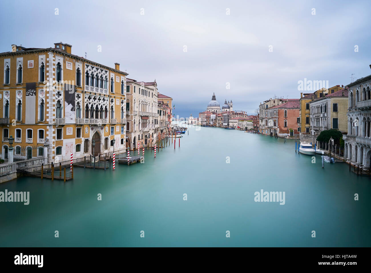 Italy, Venice, view to Canal Grande  from Academia Bridge at twilight - Stock Image