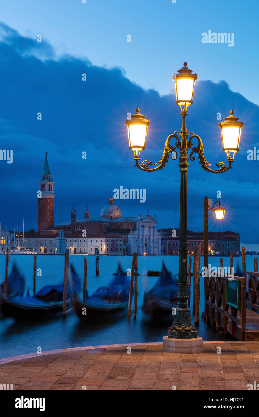 Early morning view over Gondolas and San Giorgio Maggiore, Venice, Veneto, Italy Stock Photo