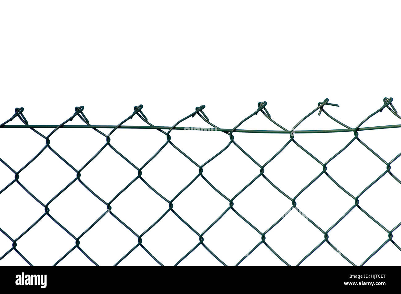 New wire security fence, isolated horizontal closeup - Stock Image
