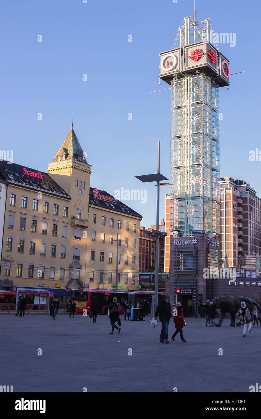 Oslo, Norway - October 4, 2016: Trafikanten Tower  in Oslo, Norway, Scandinavia in the sity center or Sentrum at - Stock Image