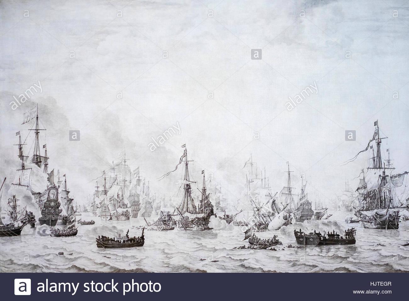 The Battle of the Downs, Willem van de Velde (I), 1659. Rijksmuseum, Amsterdam, Netherlands. - Stock Image