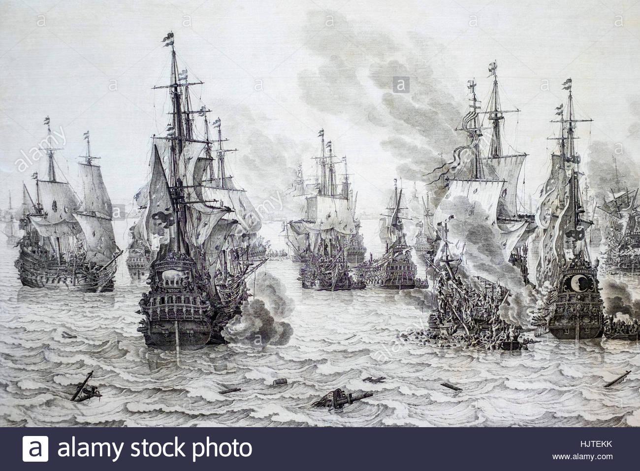The Battle of Dunkirk, Willem van de Velde (I), 1659. Rijksmuseum, Amsterdam, Netherlands. - Stock Image