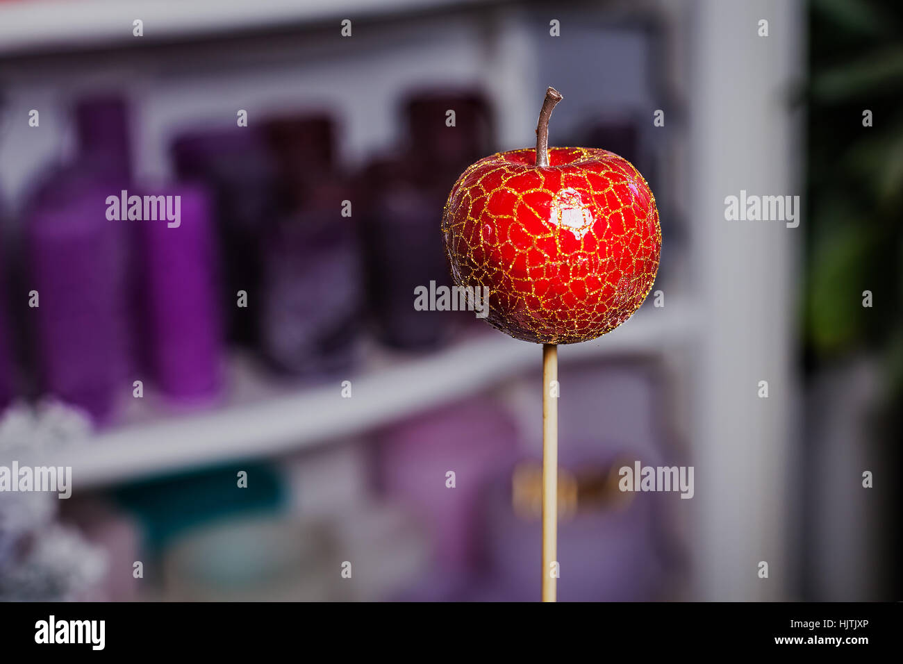 Artificial Red Apple On A Stick Home Decor Stock Photo 132078094