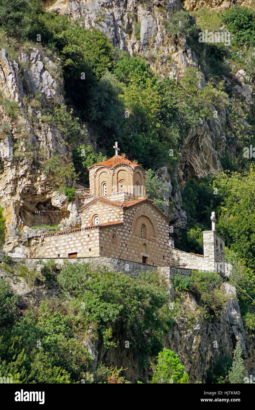 Holy Trinity 14th century Orthodox Church overlooking Berat, Albania. - Stock Image