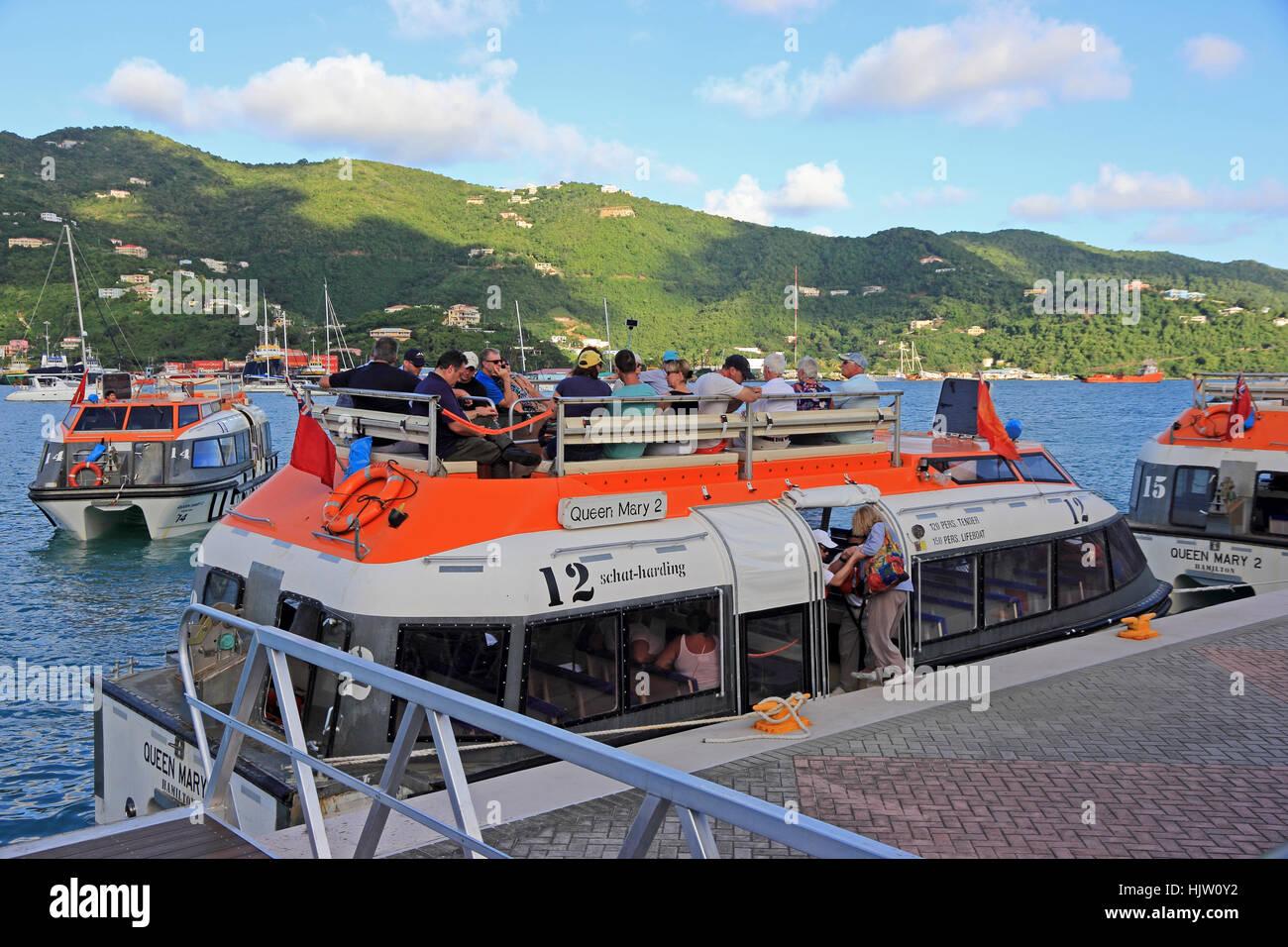 Tenders for Cunard liner Queen Victoria ferrying passengers