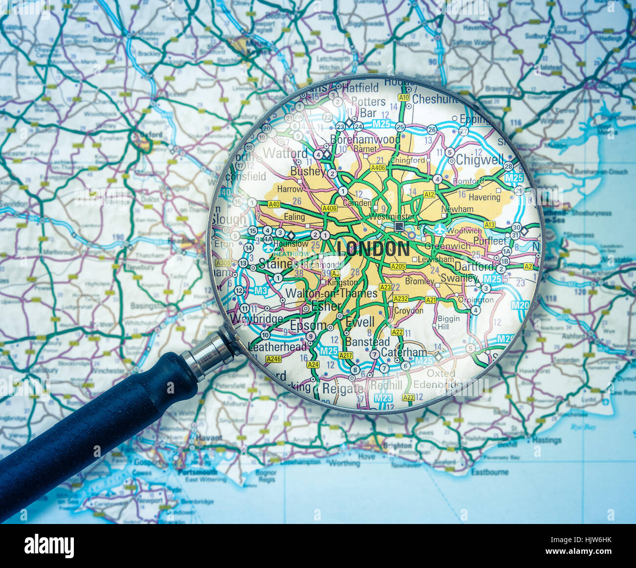 Map Over London.A Magnifying Glass Over A Road Map Of London England Stock Photo