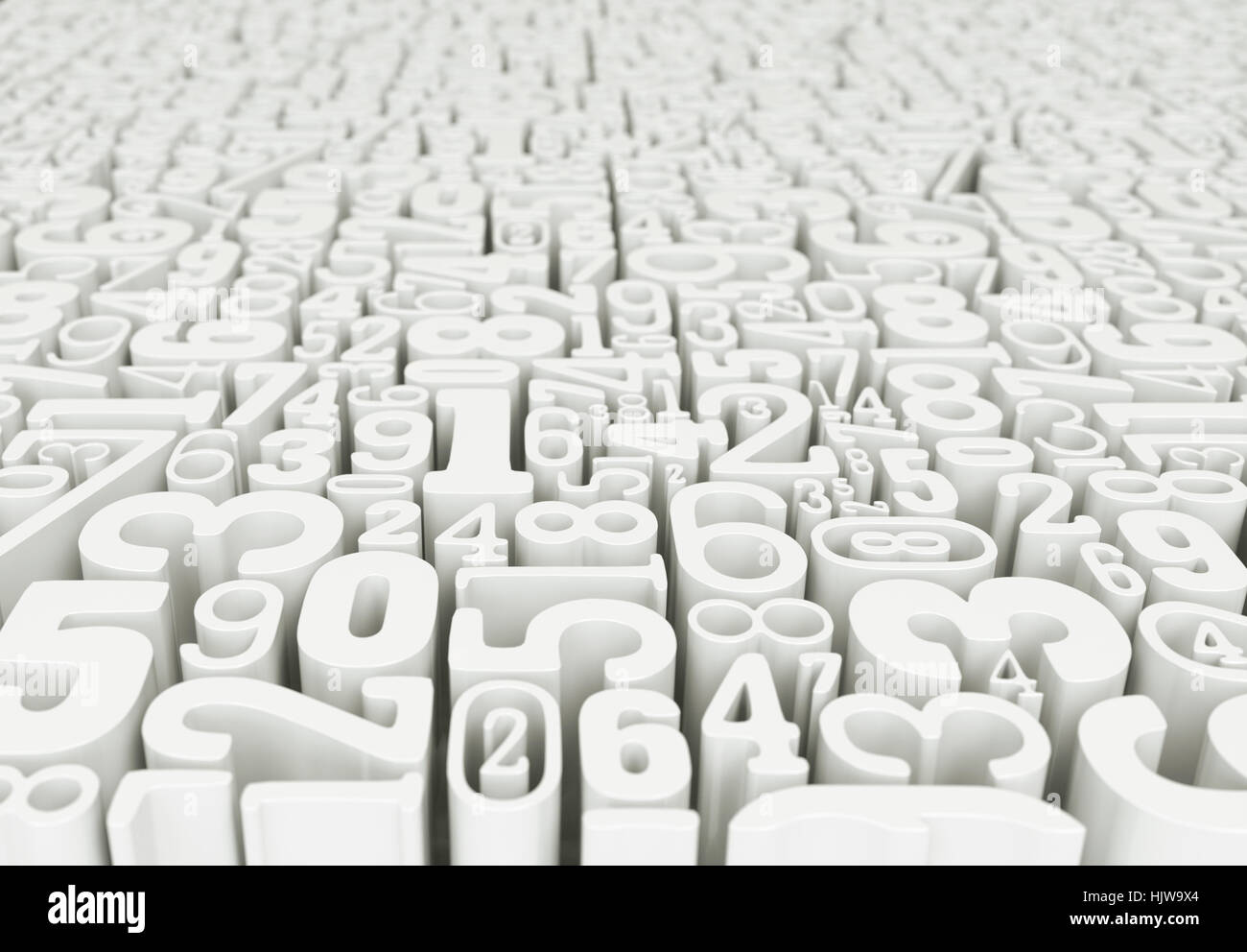 World of numbers - 3D Rendering - Stock Image