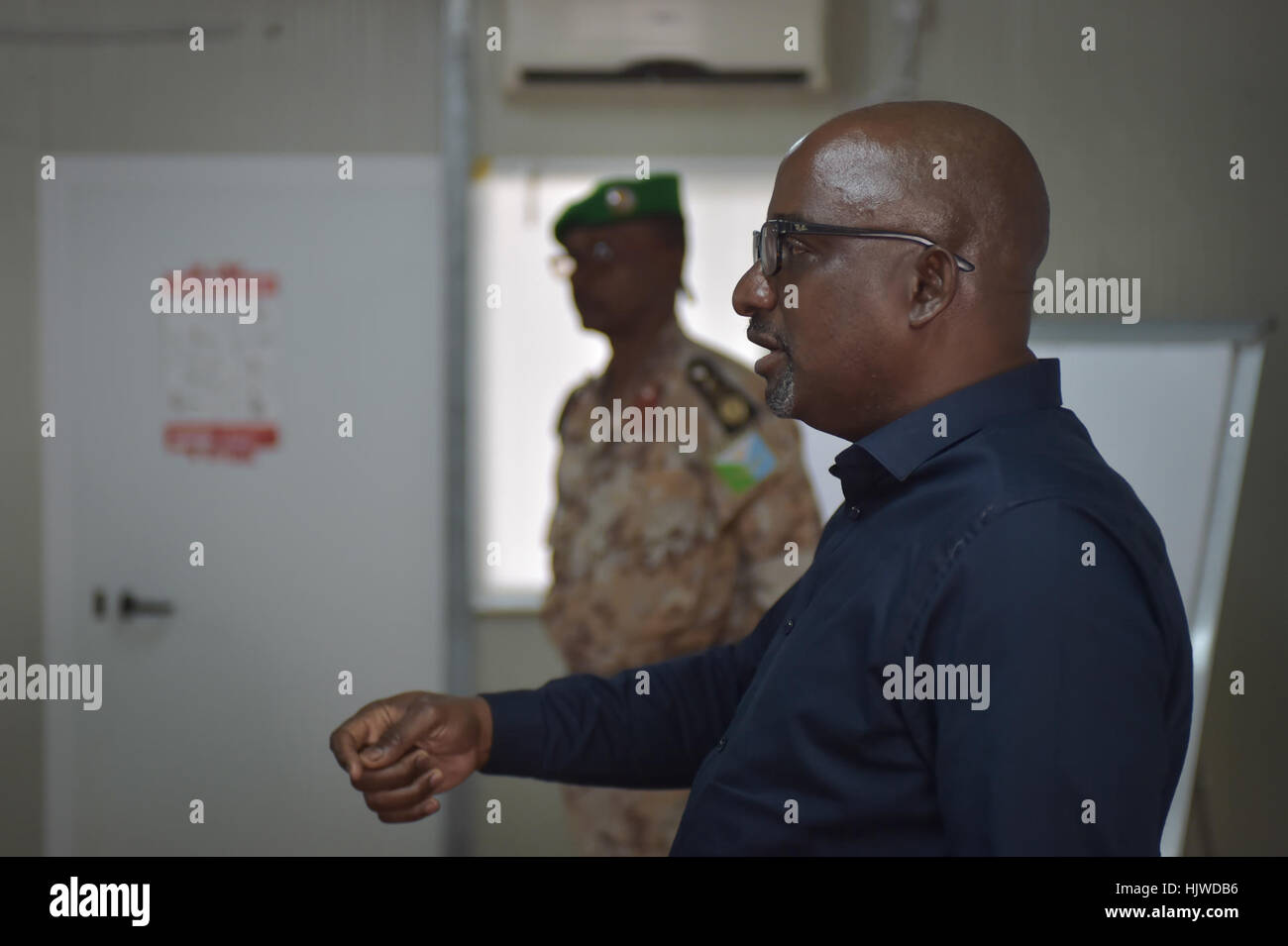 Acting Chief of Staff for AMISOM, Adebayo Kareem, speaks at the opening of the Protection of Human Rights and Gender - Stock Image
