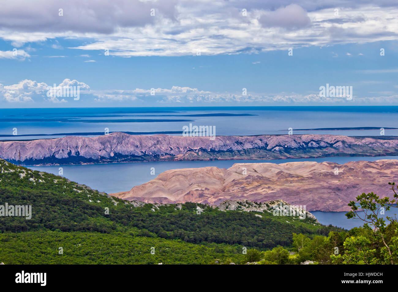 Croatian islands (Pag, Vir, Maun, Olib, Silba, Premuda, Ist, Molat) aerial view from Velebit mountain - Stock Image