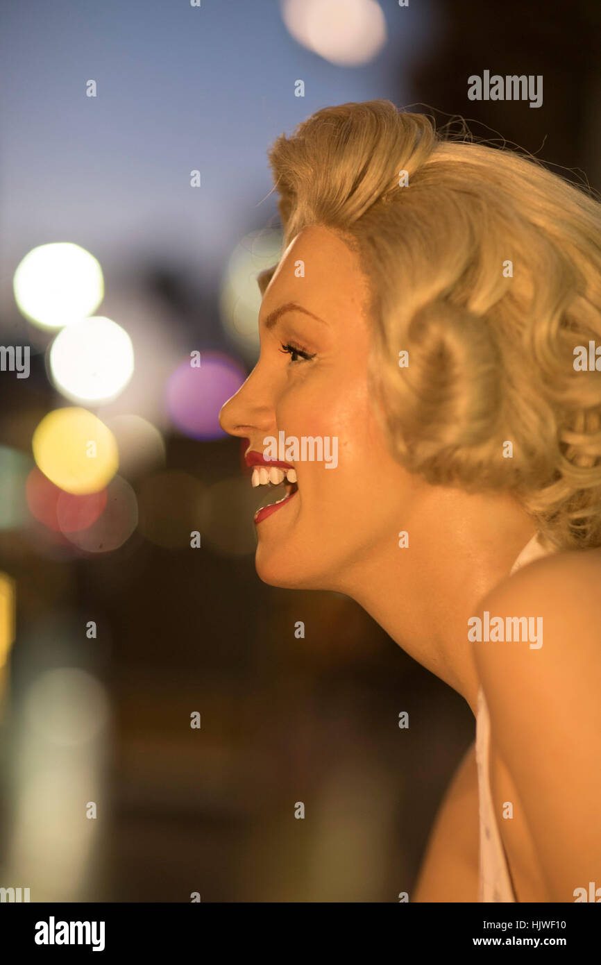 A wax likeness of Marilyn Monroe (promoting Madame Tussauds Wax Museum) Hollywood Boulevard, Hollywood, Los Angeles, - Stock Image