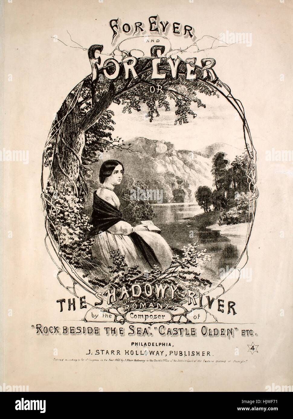 Sheet music cover image of the song 'Forever and Forever, or, The Shadowy River Romanza', with original - Stock Image