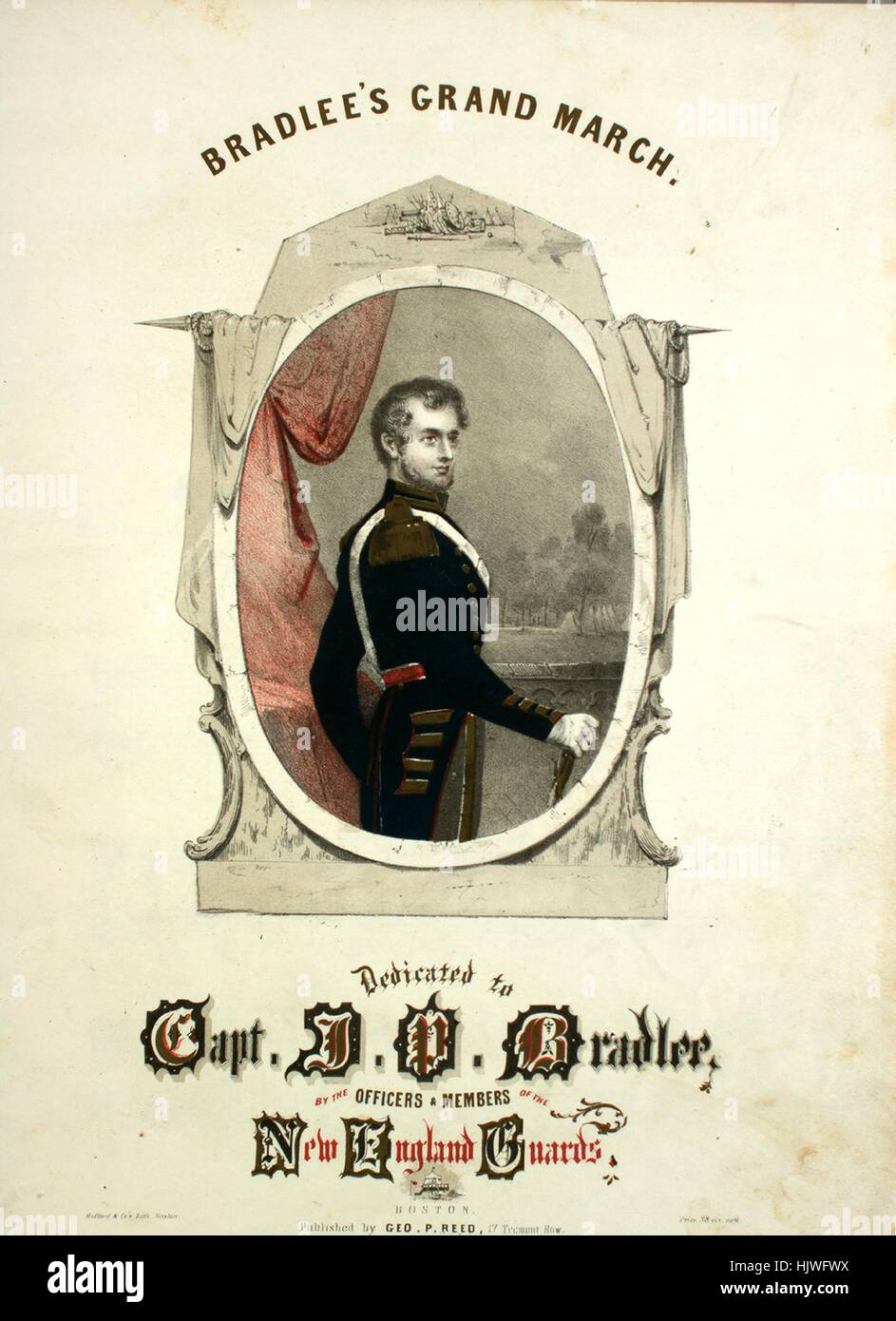 Sheet music cover image of the song 'Bradlee's Grand March', with original authorship notes reading - Stock Image