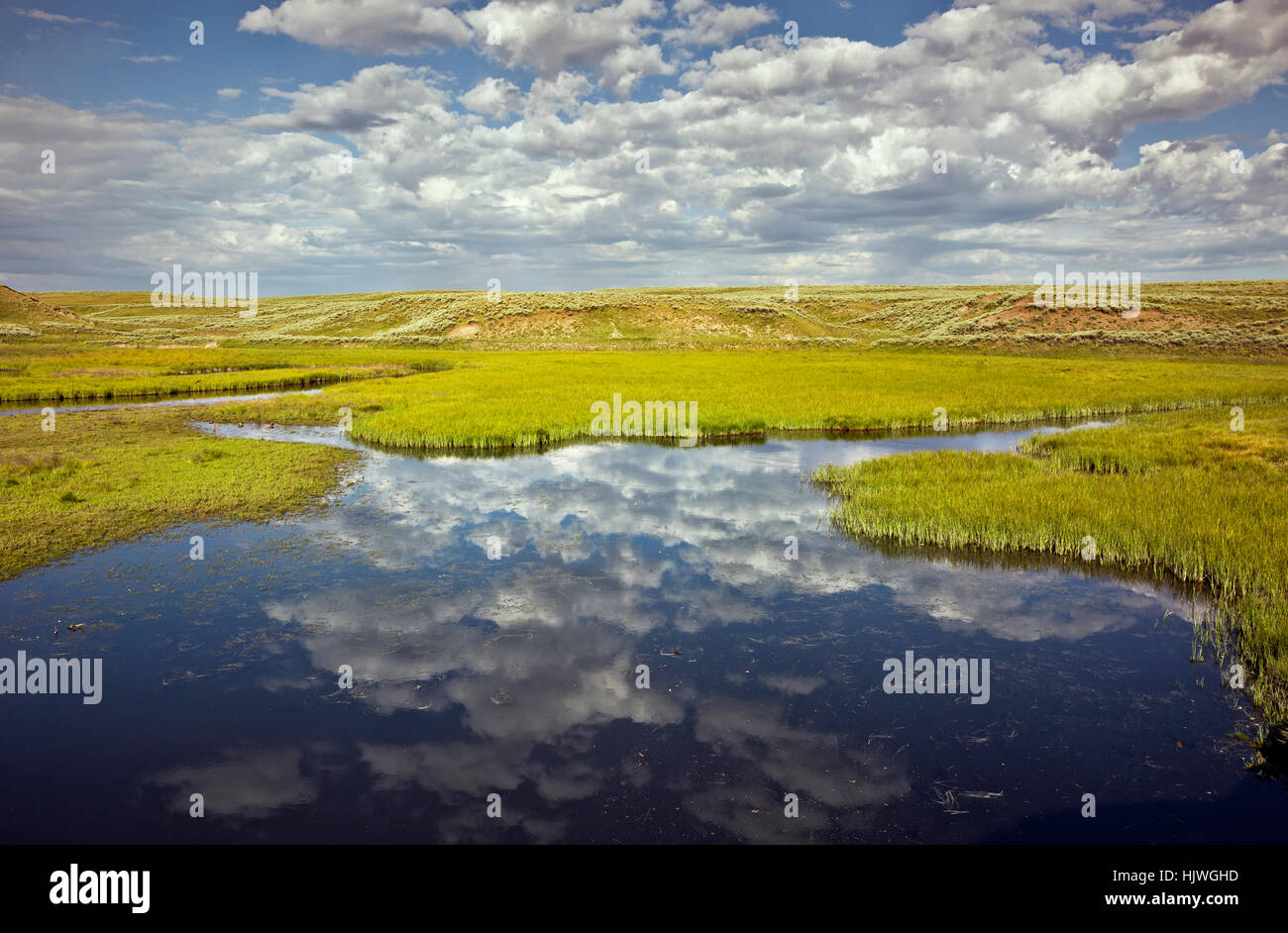 WY02175-00...WYOMING - Clouds and reflections at Elk Antler Creek in the Hayden Valley area of Yellowstone National - Stock Image