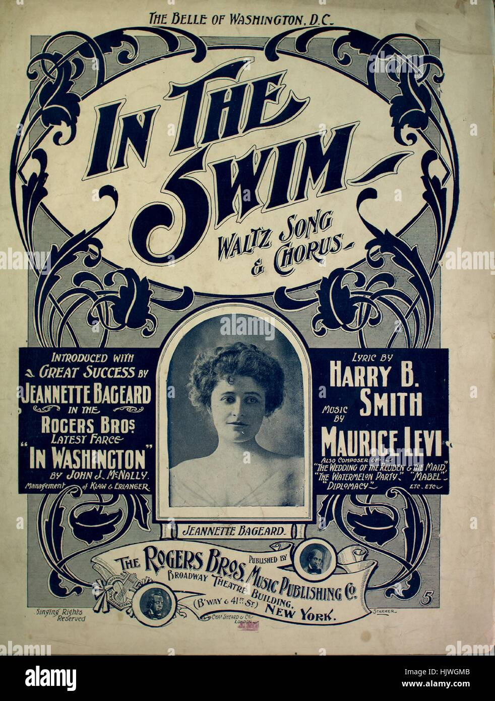 Sheet music cover image of the song 'In the Swim Waltz Song and Chorus ['The Belle of Washington, DC]', - Stock Image