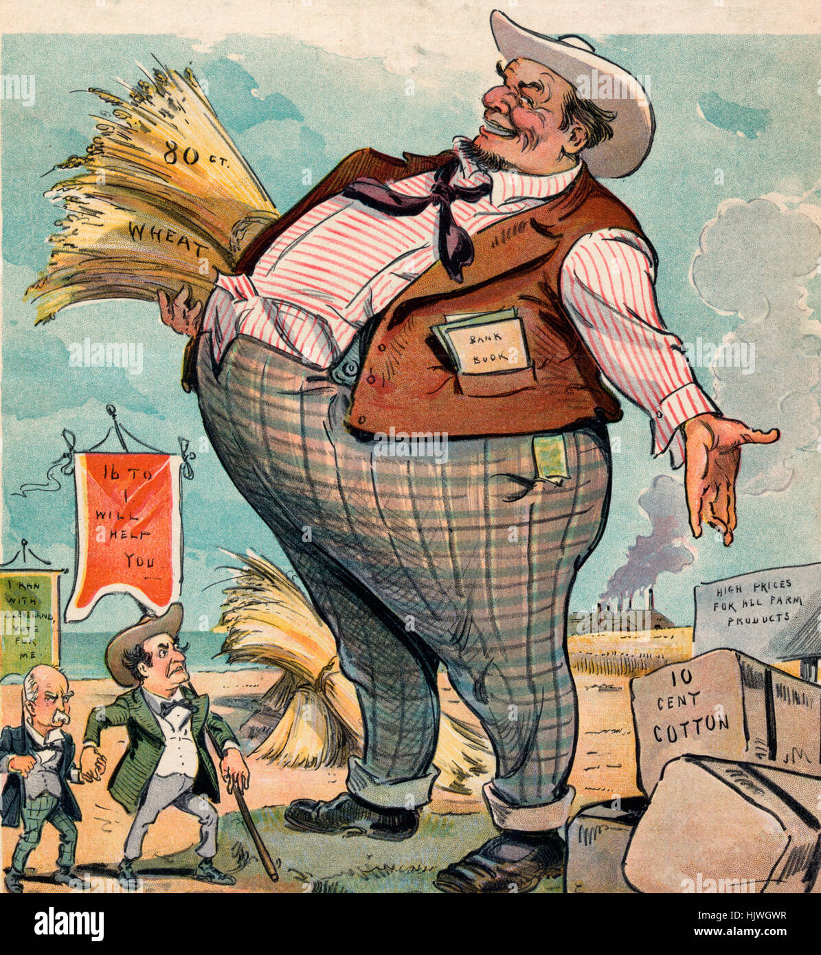 He can't see them -  Political Cartoon shows William Jennings Bryan carrying a banner that states '16 to - Stock Image