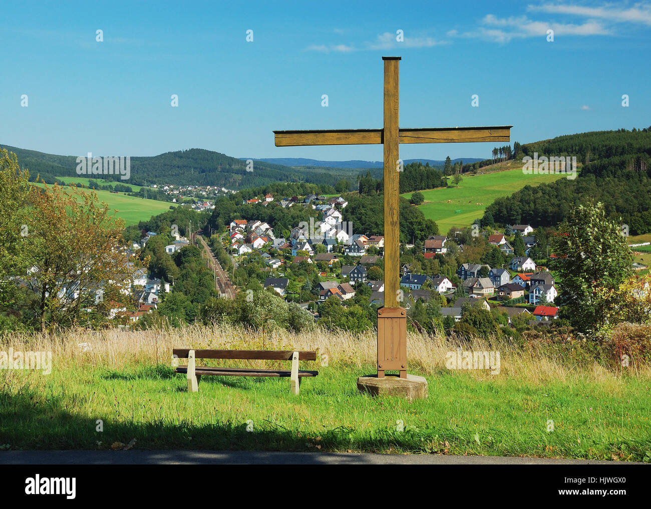 cross, community, village, market town, relaxation, hike, go hiking, ramble, - Stock Image