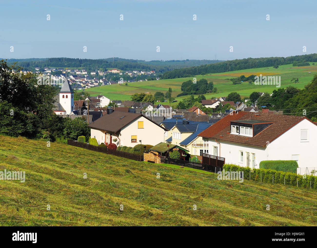 highlands, community, village, market town, field, hike, go hiking, ramble, - Stock Image