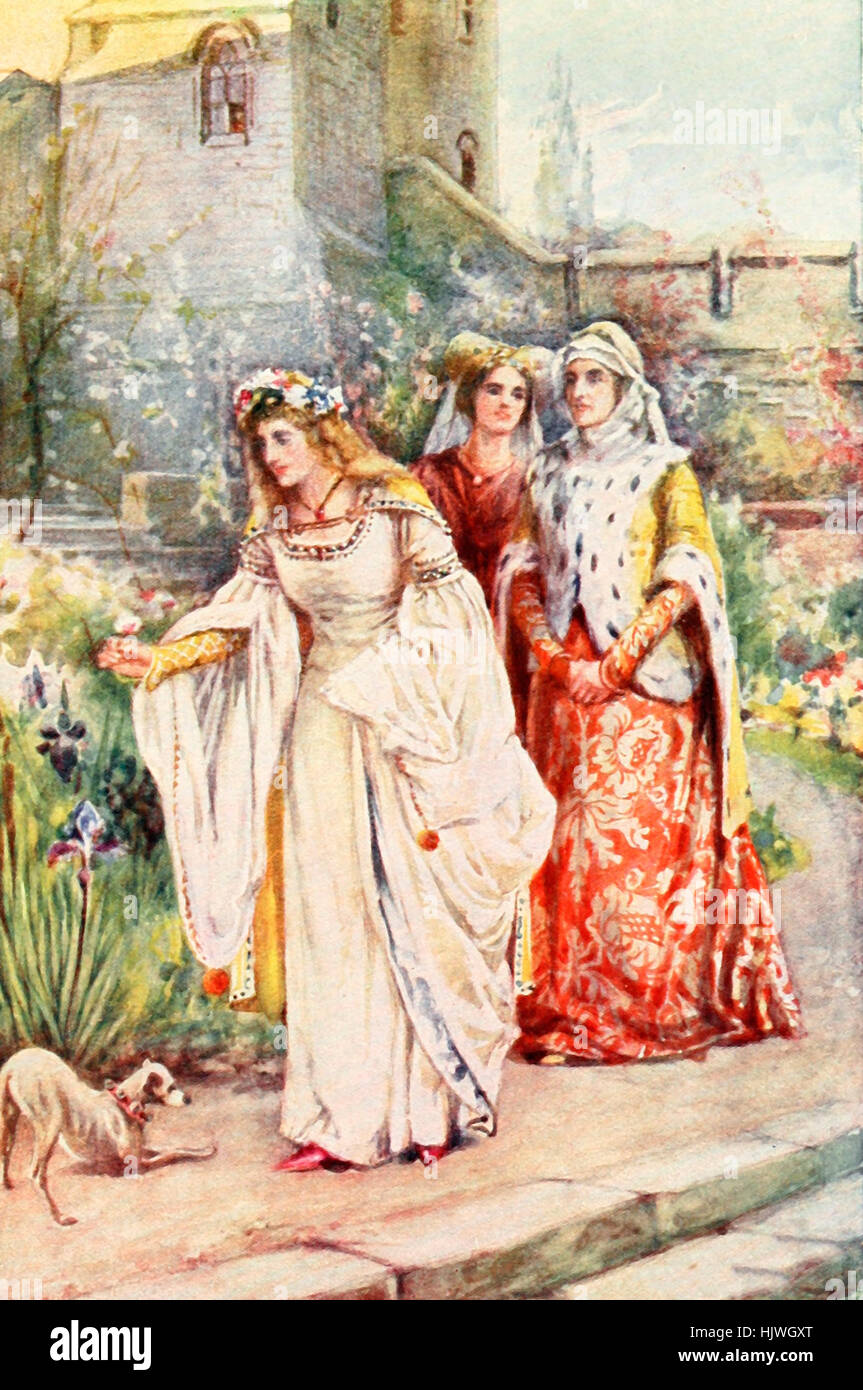 For there in the garden walked the fairest lady he had ever seen. A scene from Scottish History Stock Photo