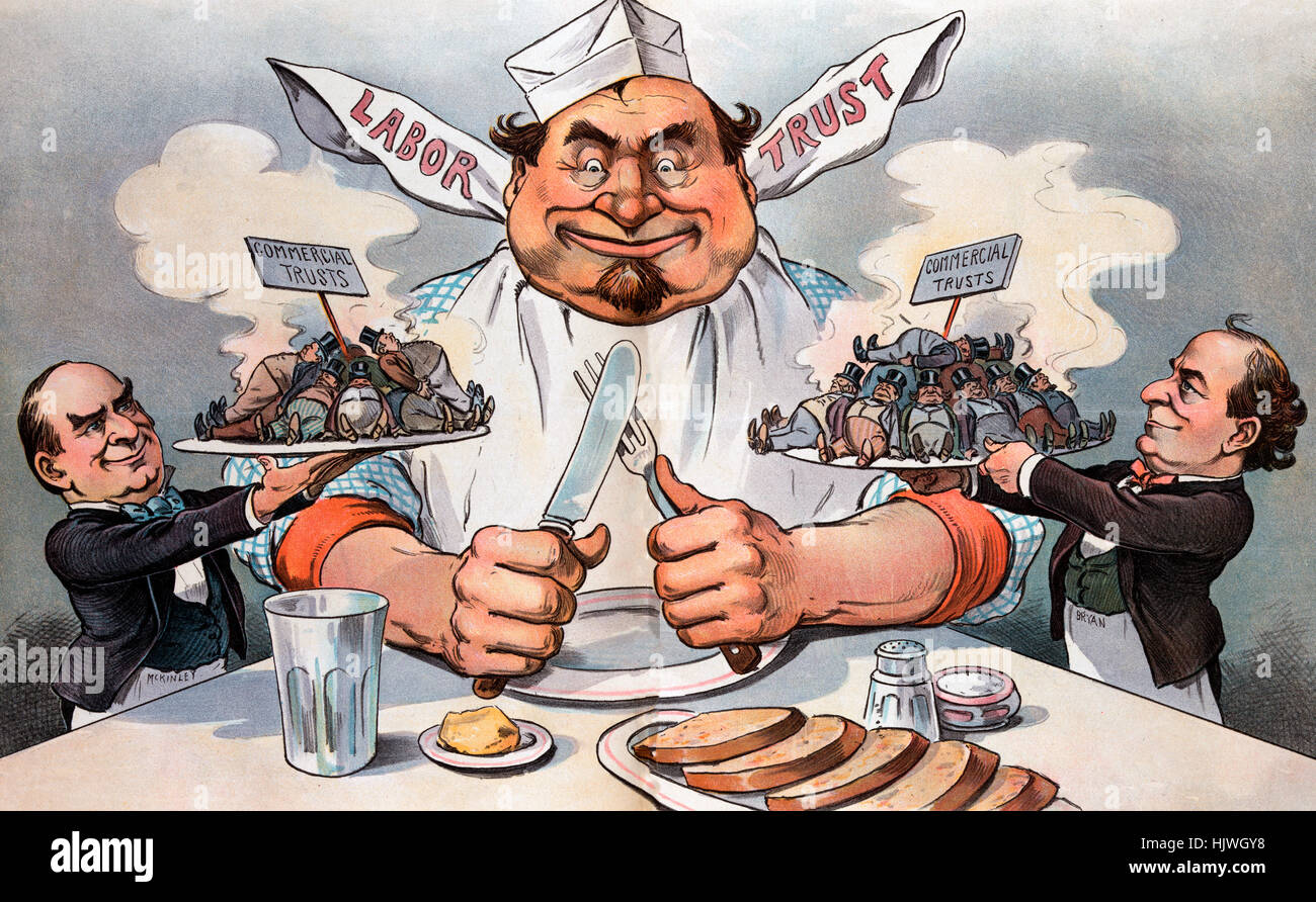 The promised feast - Political cartoon shows President William McKinley, on the left, offering up a steaming plate - Stock Image