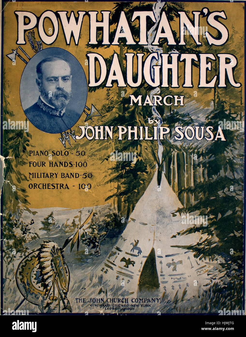Sheet music cover image of the song 'Powhatan's Daughter March', with original authorship notes reading - Stock Image