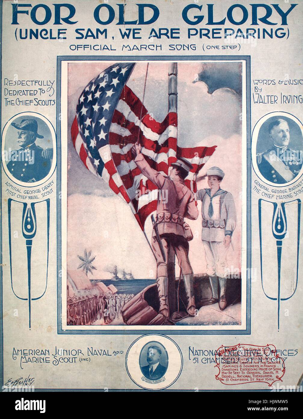 Sheet music cover image of the song 'For Old Glory (Uncle Sam, We Are Preparing) Official March Song (One Step)', - Stock Image