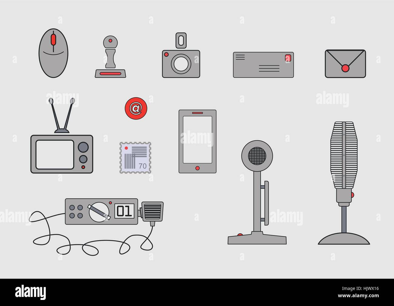 Various communication devices. - Stock Image