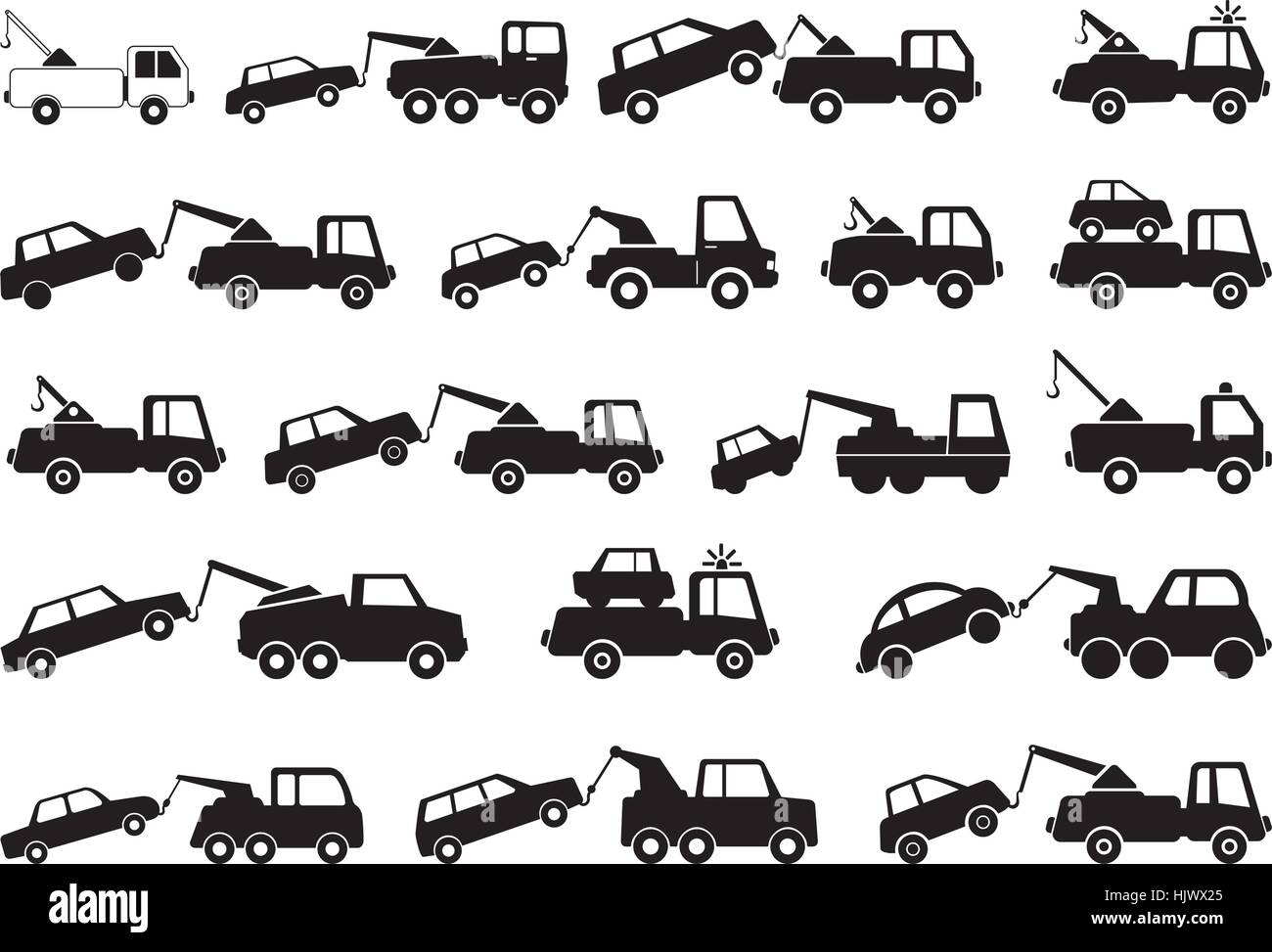 Truck used to tow or pick up damaged or disabled vehicles. Tow truck and towing service as vector graphic. - Stock Vector