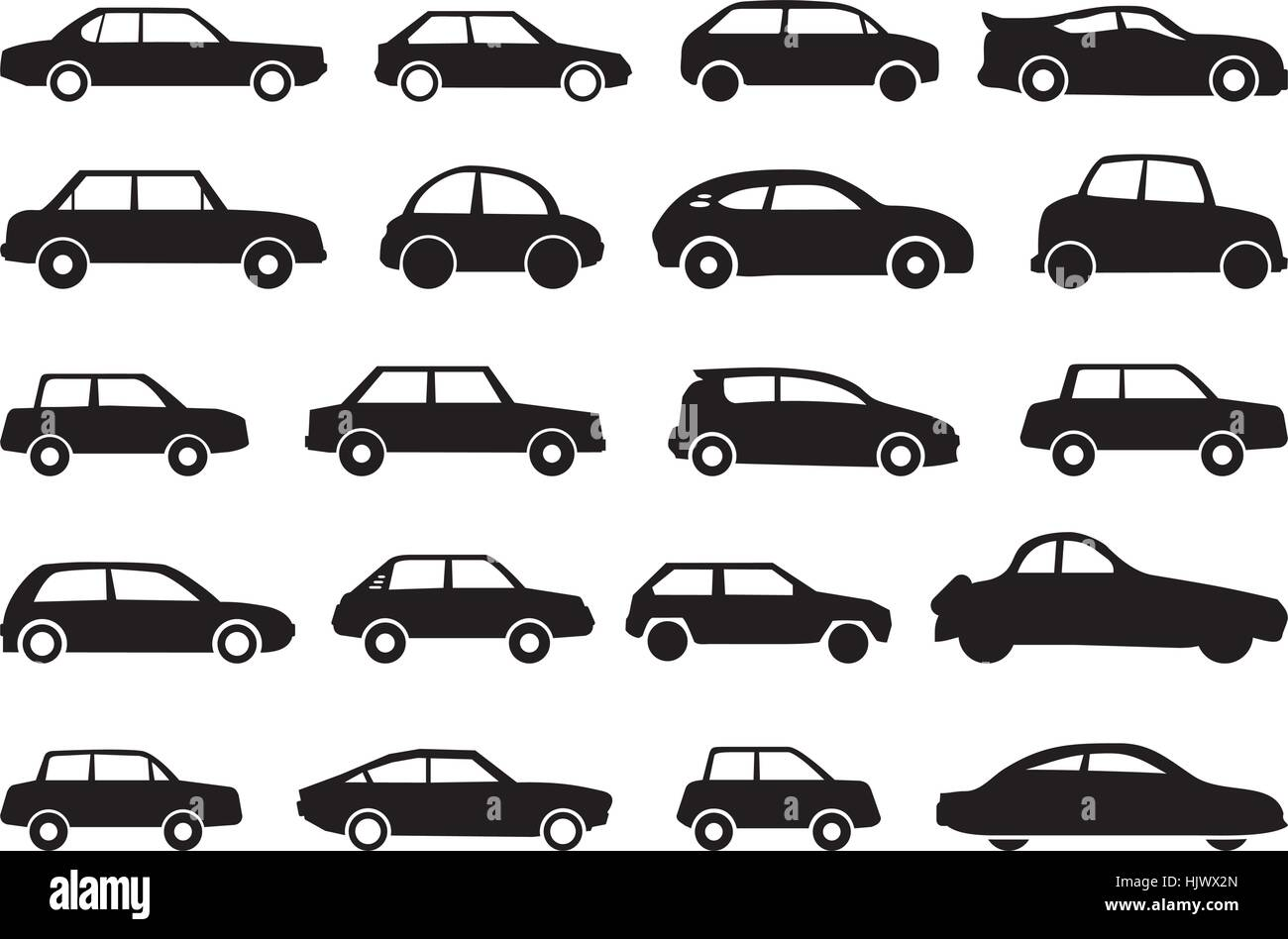 Various types of car shapes as vector graphic. - Stock Image