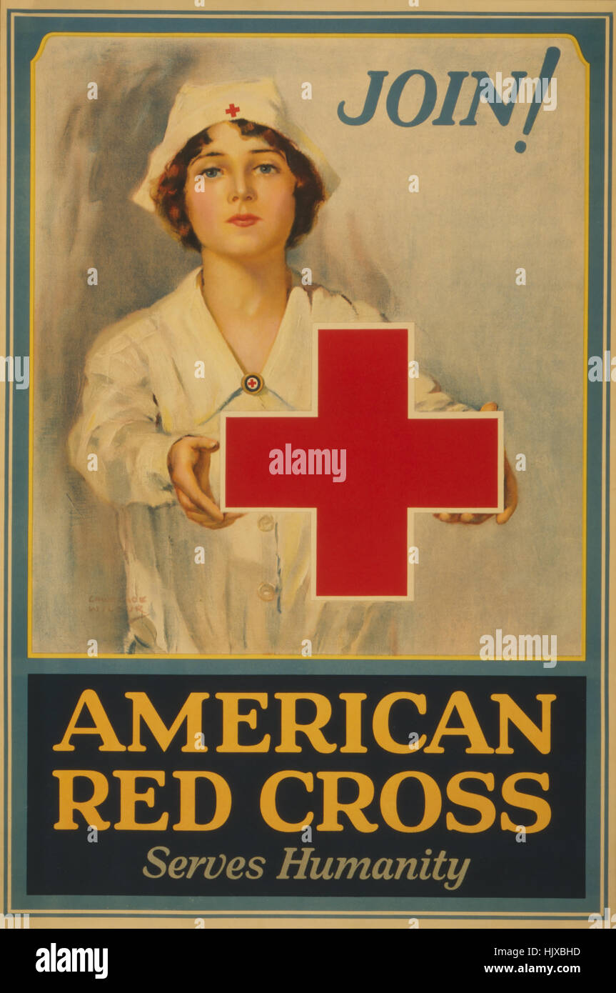 Red Cross Nurse Holding Red Cross,