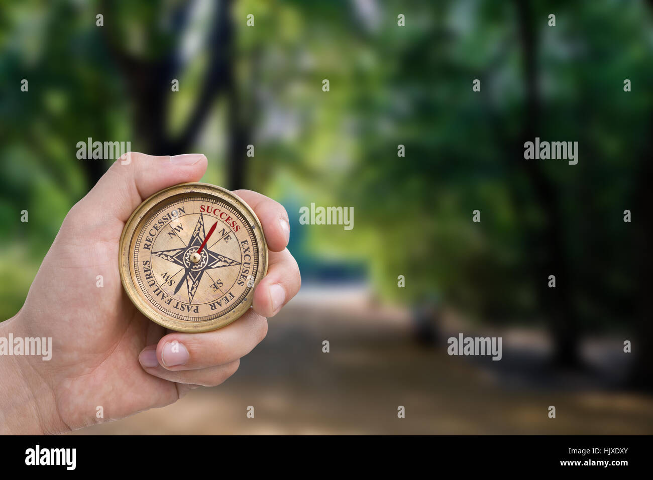 Success, excuses, fear, past failures, recession compass. Includes clipping path. - Stock Image