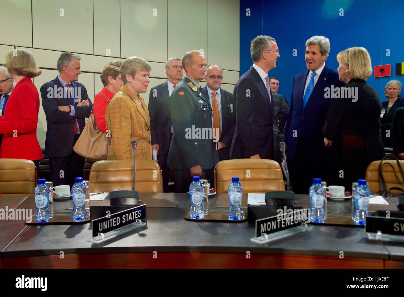 U.S. Secretary of State John Kerry chats with North Atlantic Treaty Organization Secretary-General Jens Stoltenberg Stock Photo