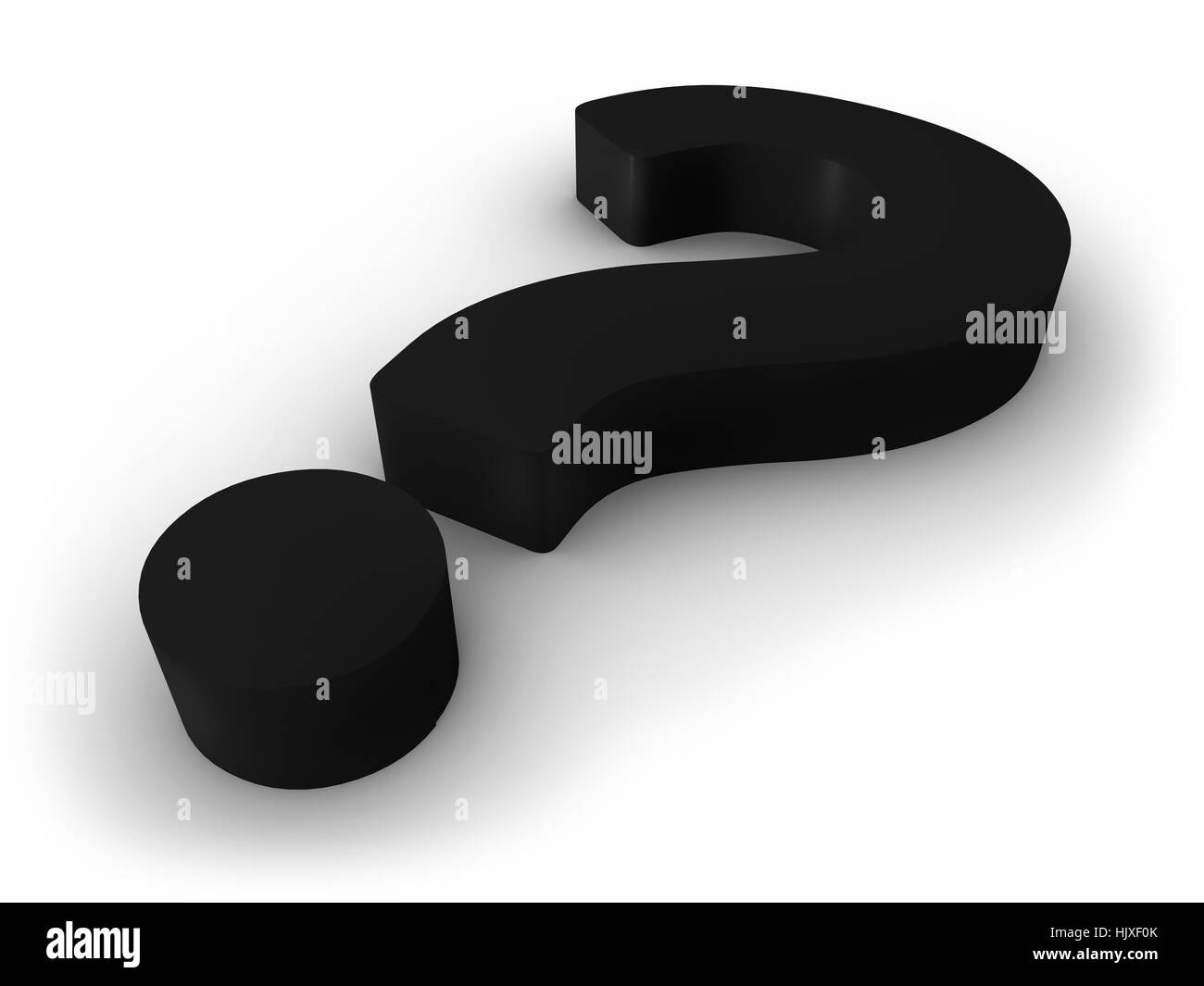 3D Nlack Question Mark on White Background - Stock Image