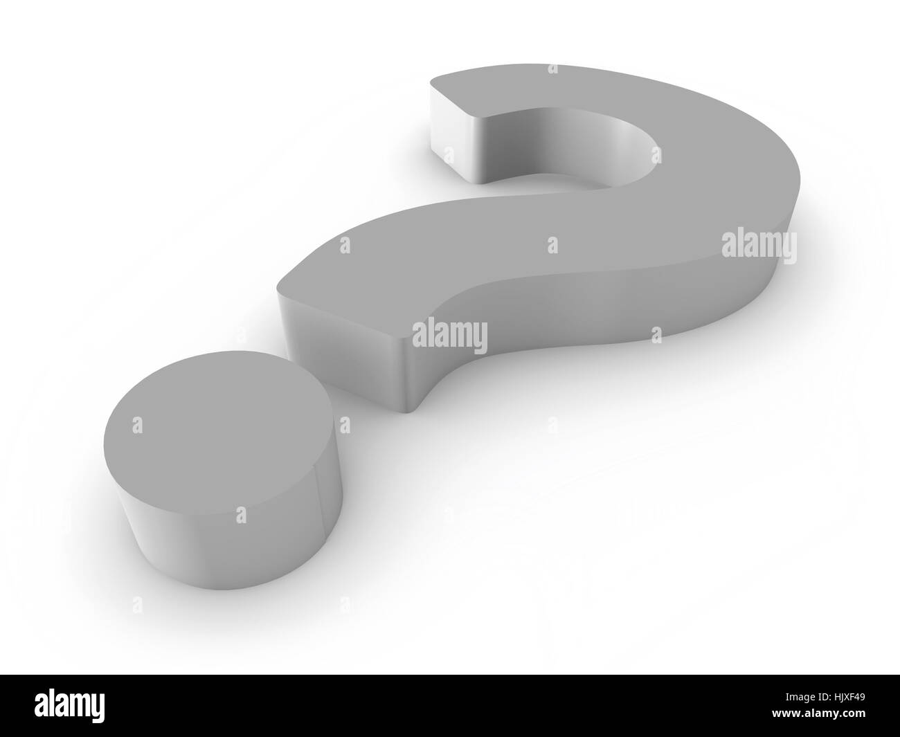 3D Silver Question Mark on White Background - Stock Image