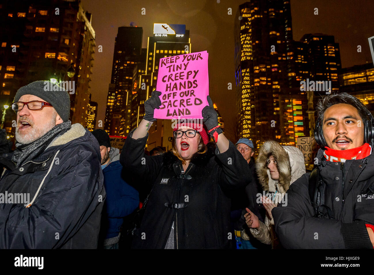 New York, USA. 24th Jan, 2017. Hundreds of New Yorkers joined Actress Jane Fonda and Film Director Josh Fox in the Stock Photo