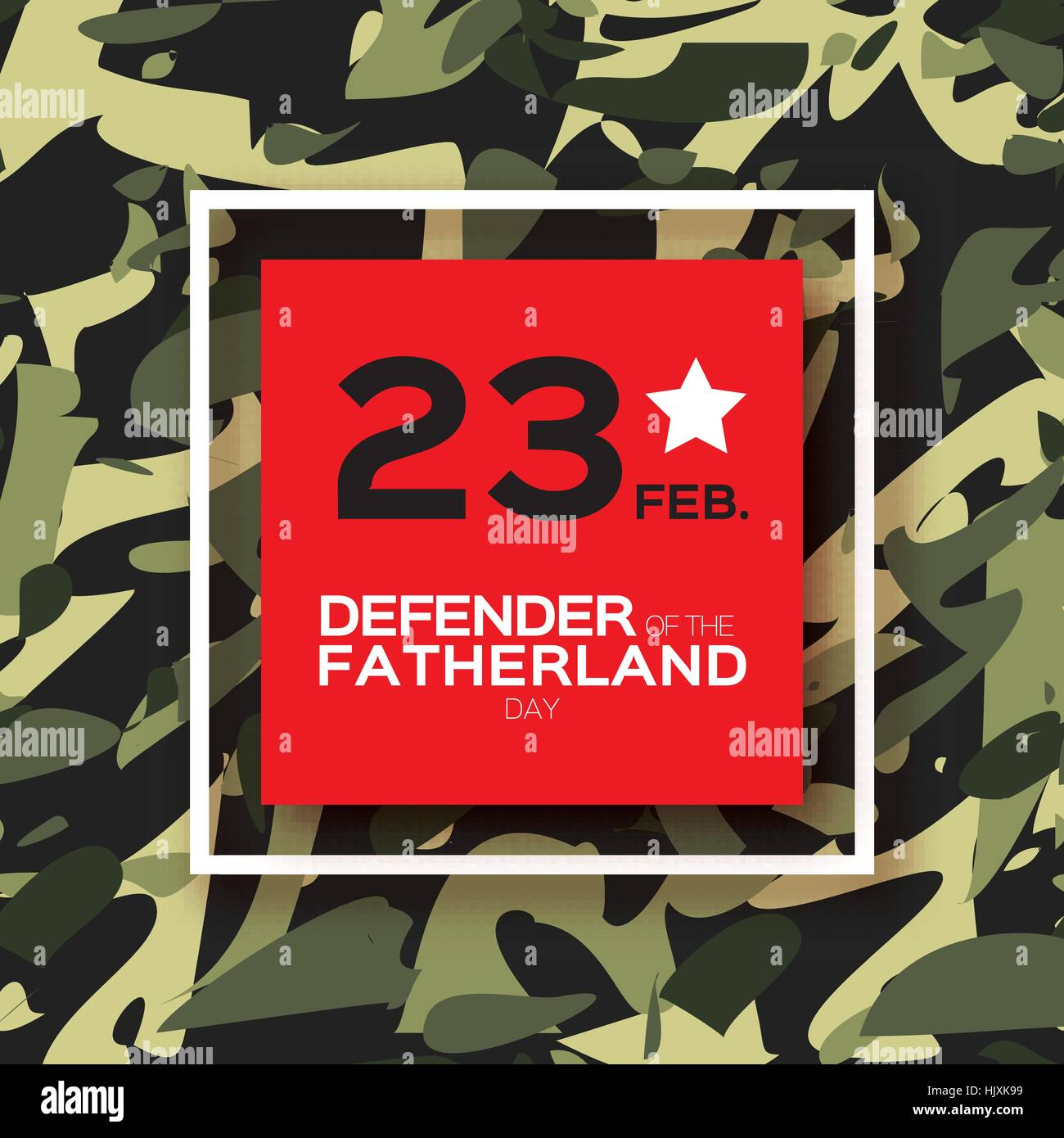 Happy Defender of the Fatherland day. 23 February Greeting card for men on military background . The Day of Russian - Stock Vector