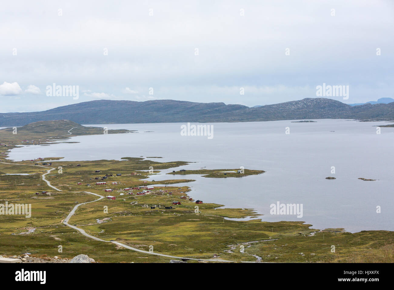Vinstre lake in the municipality of Vang and Øystre Slidre in Oppland county, Norway. - Stock Image